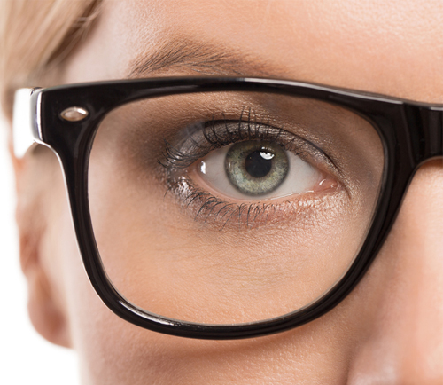 eyeglass frame on woman